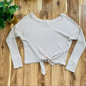 A&F | cropped tie-up ribbed sweater size small